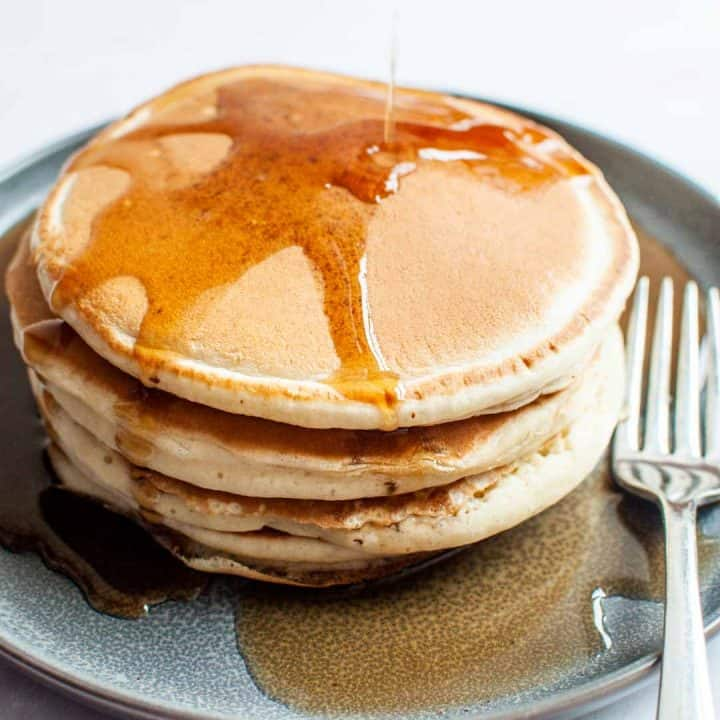 almond milk pancakes with syrup