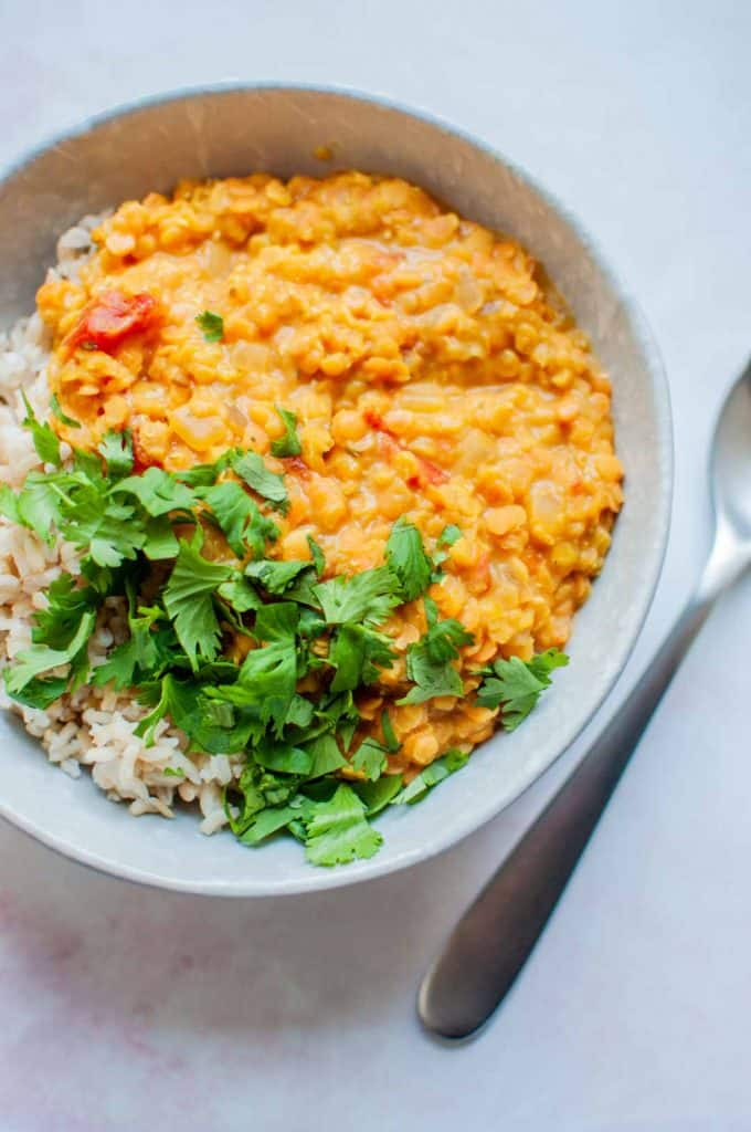 closeup of red lentil dhal and rice in a bowl, topped with chopped cilantro