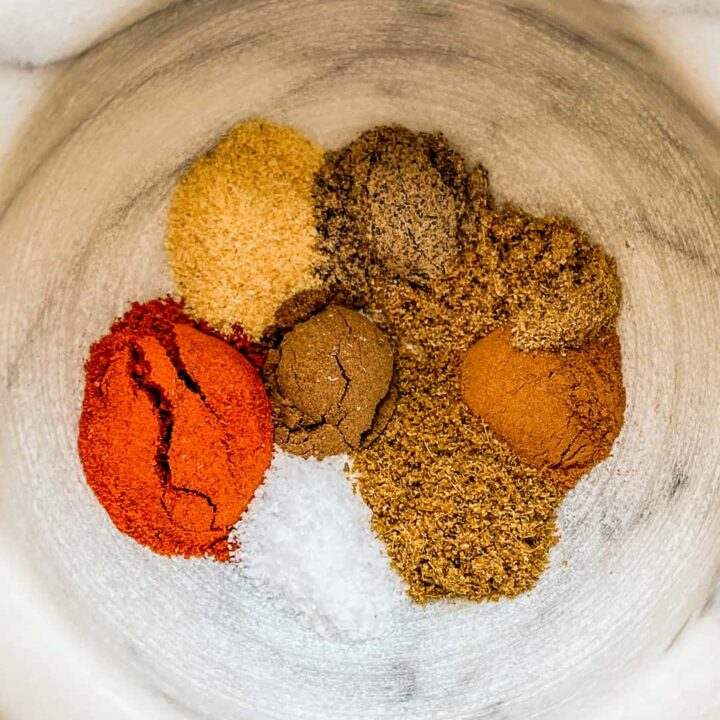 A closeup shot of a bowl of spices.