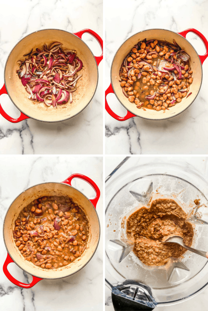 Four photos of ful medames preparation in different steps.
