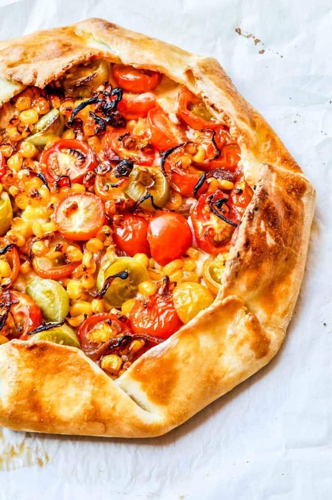 tomato mozzarella and corn galette
