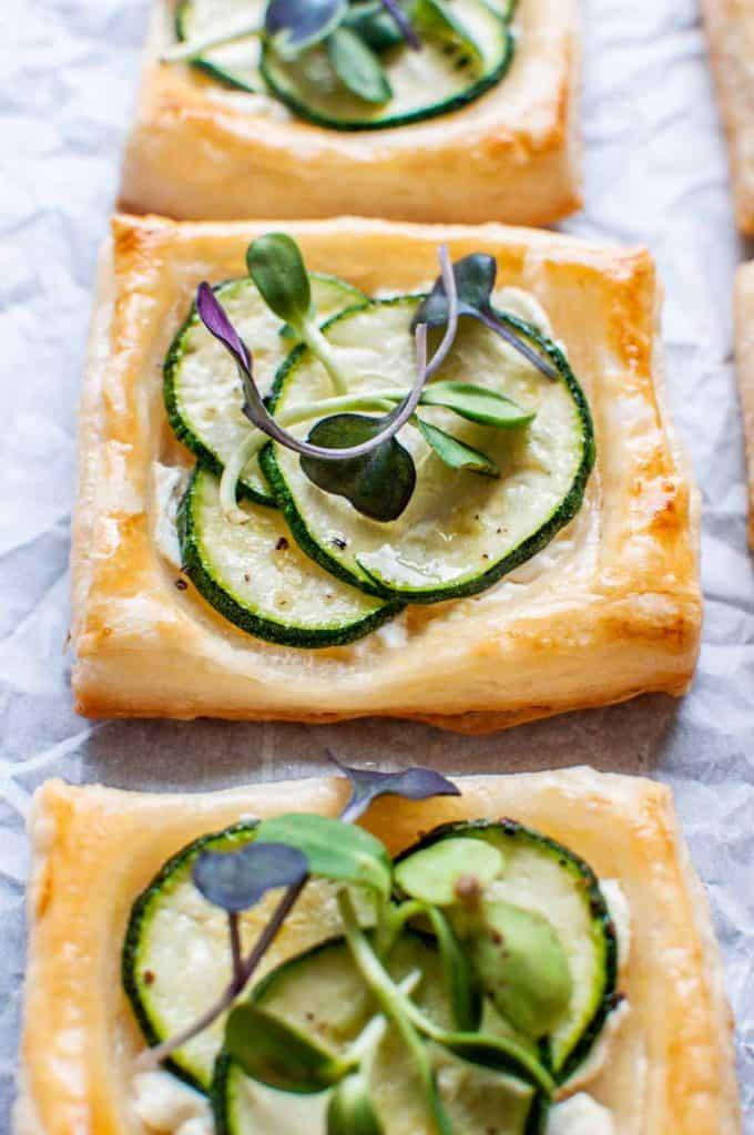 zucchini tartlets closeup