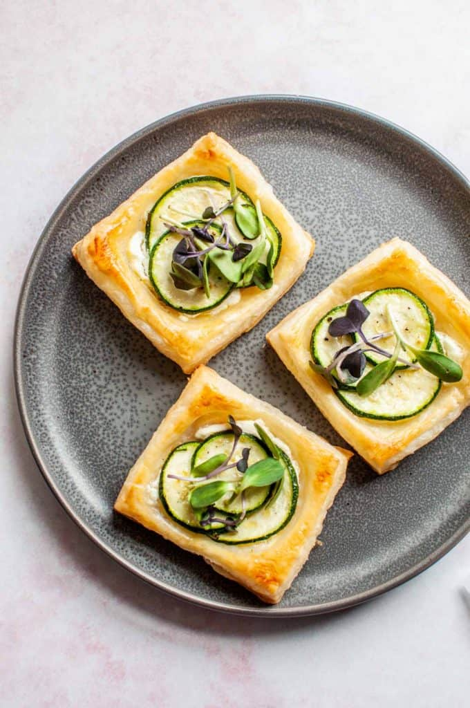zucchini tartlets on a plate