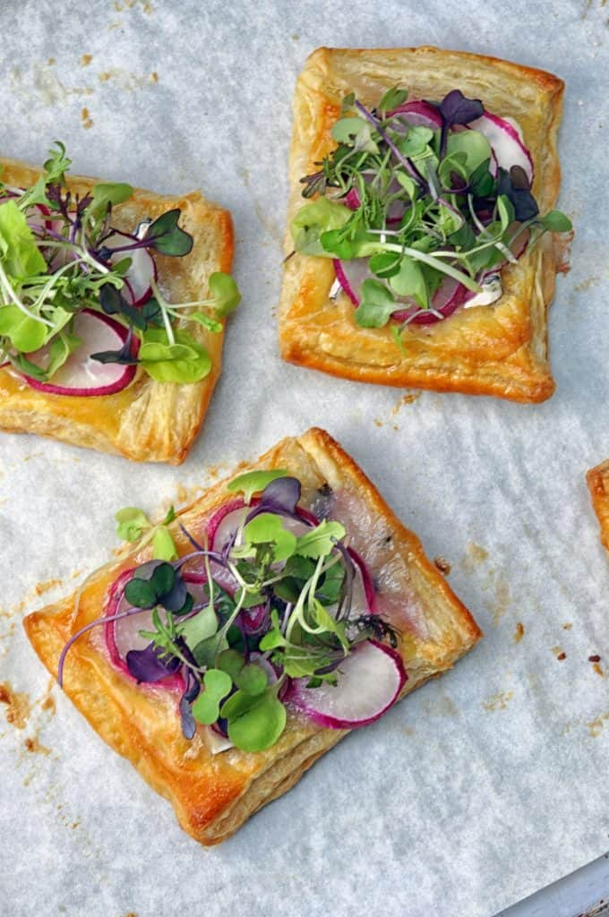 radish puff pastry appetizers
