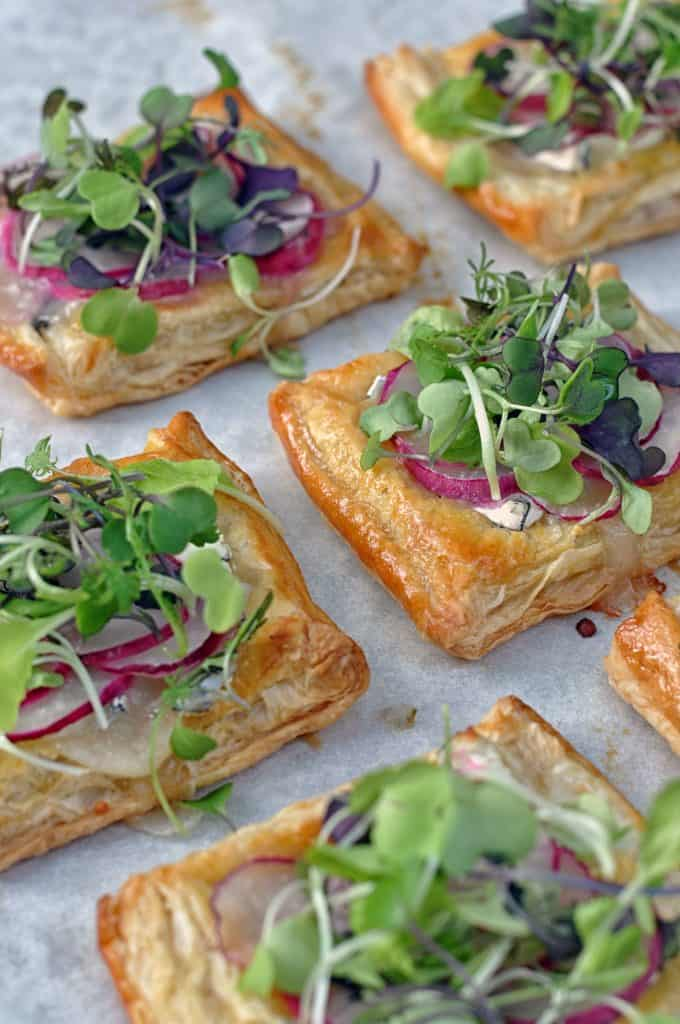 radish puff pastry appetizers on parchment paper