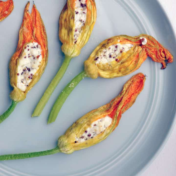stuffed squash blossoms on a plate