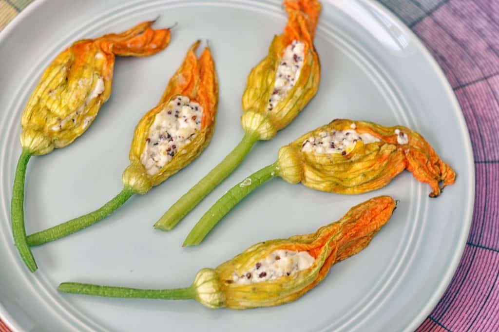 baked stuffed squash blossoms on a plate
