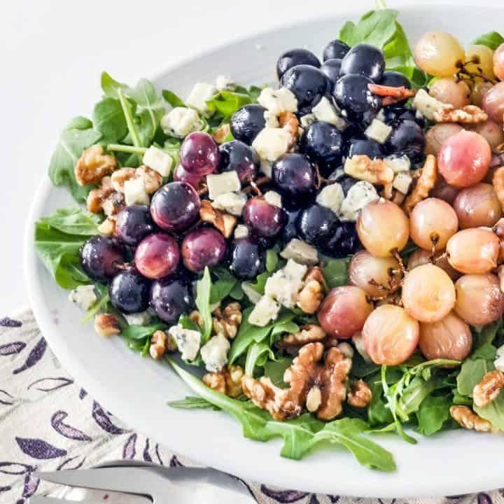 roasted grape salad on a platter