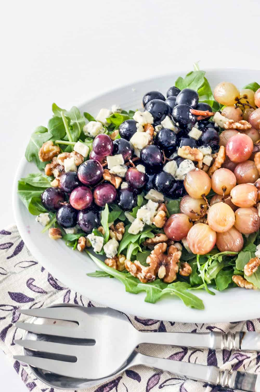 roasted grape salad on a platter