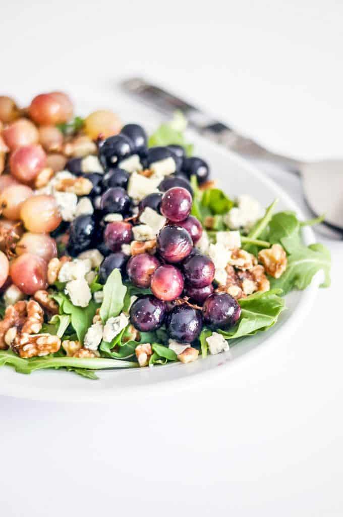 roasted grapes on a salad