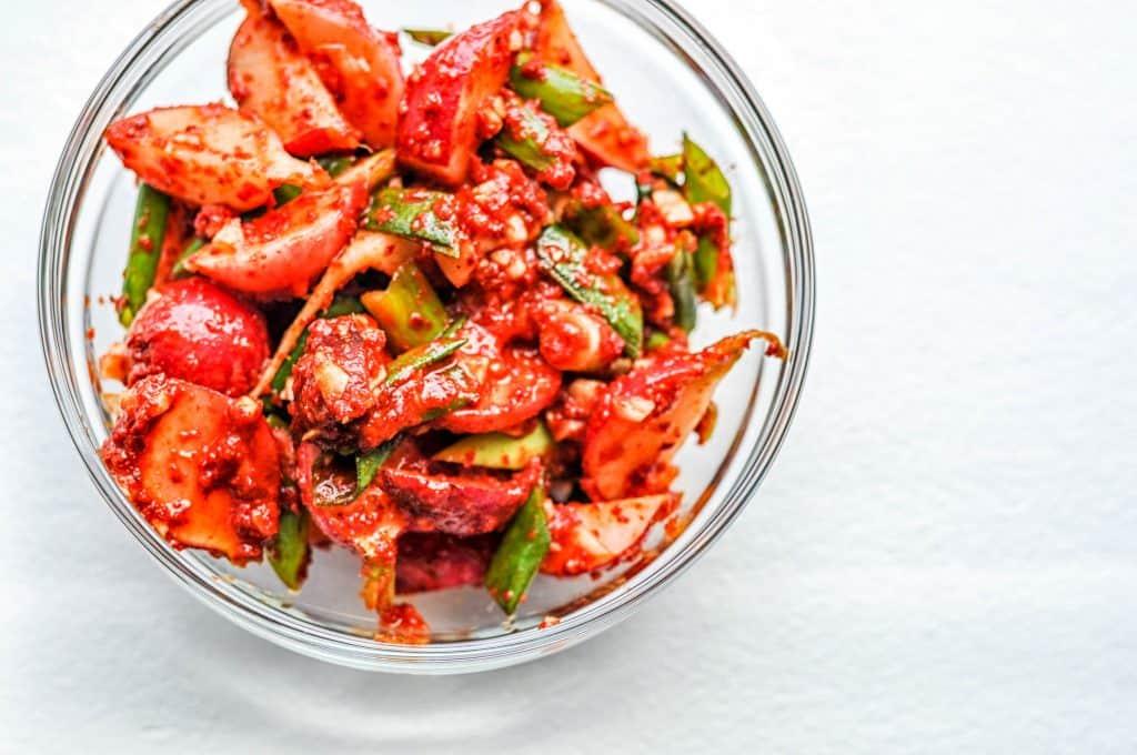 radish kimchi recipe in a bowl