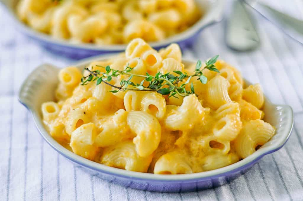 butternut squash mac and cheese in a dish