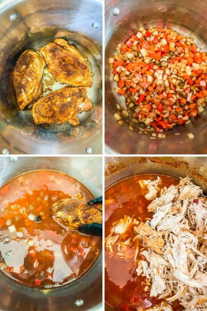 four closeup shots of chicken in pot, vegetables in pot, chicken being added to broth, and shredded chicken on top of the chili