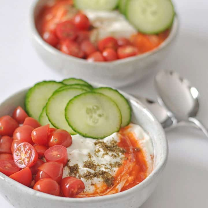 savory yogurt in bowls
