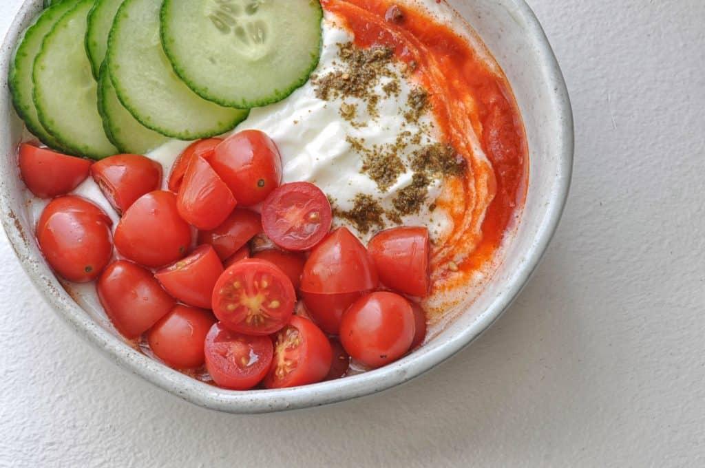savory yogurt in a bowl