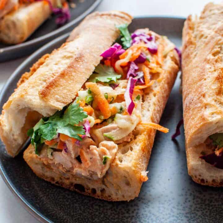 turkey banh mi on a grey plate