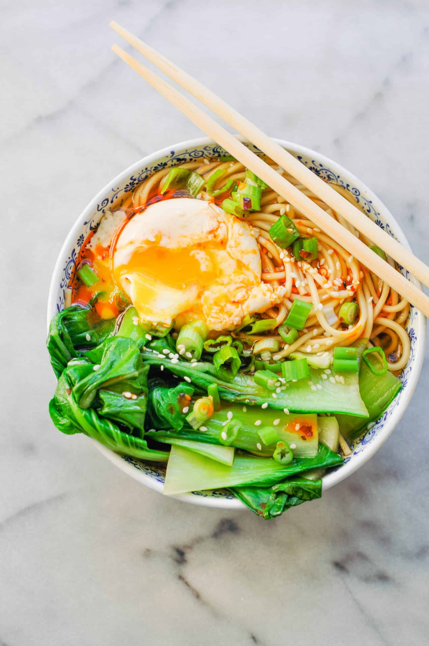 miso ramen with bok choy and an egg