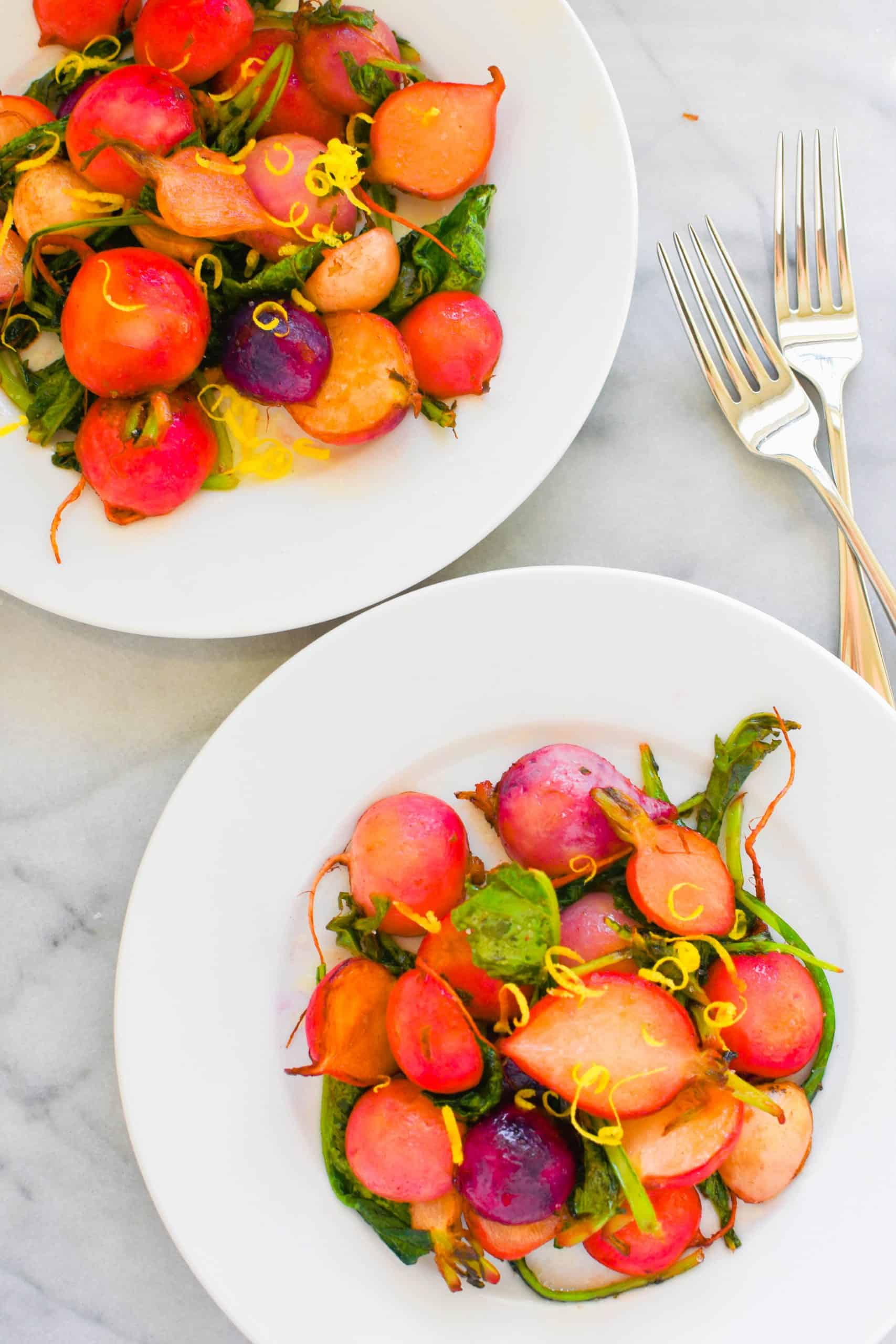 brown butter radishes on salad plates