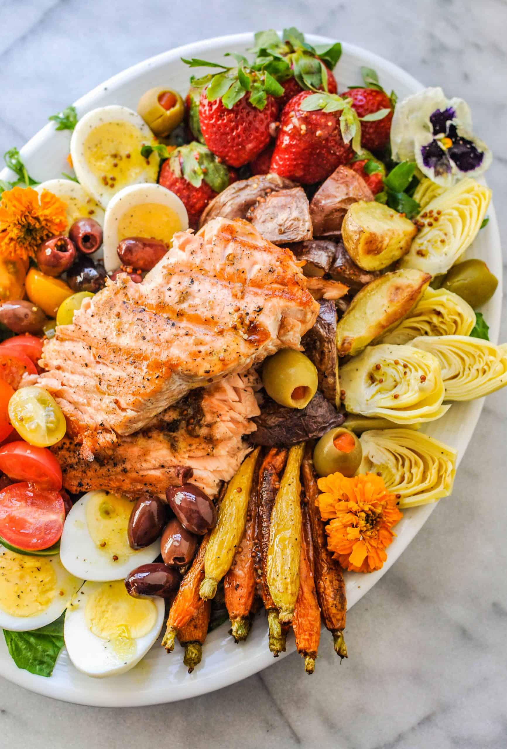 Salmon Salad Niçoise on a platter