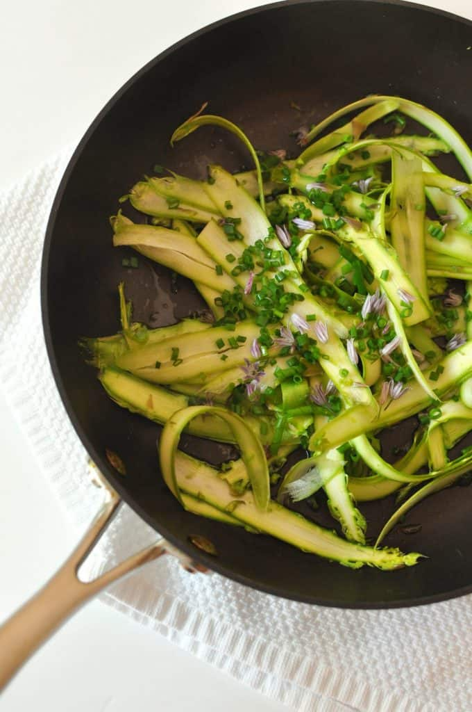 shaved asparagus in a pan