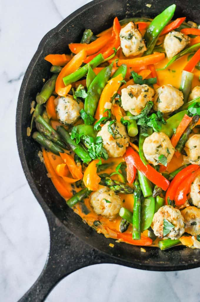 Thai red curry turkey meatballs in a pan