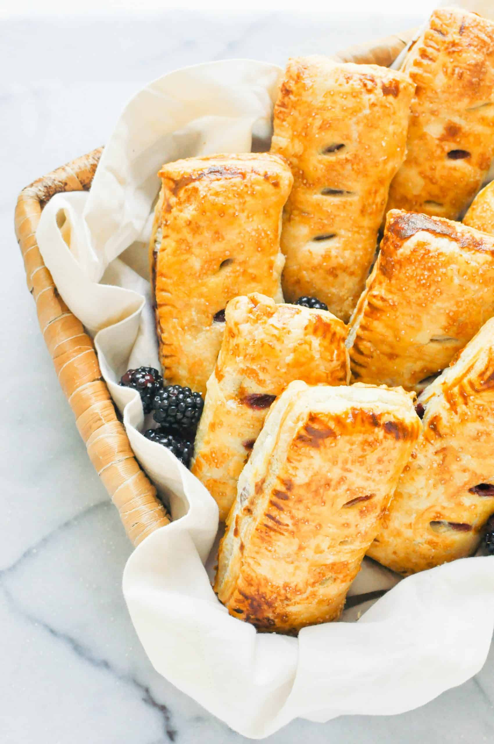 blackberry apple hand pies in a basket