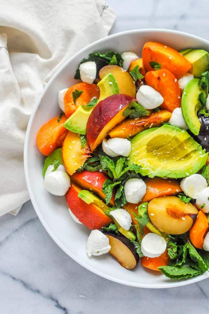 summer stone fruit salad in a bowl