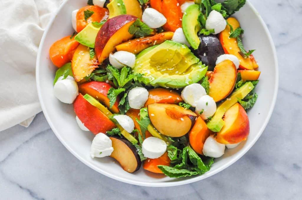 summer stone fruit salad closeup