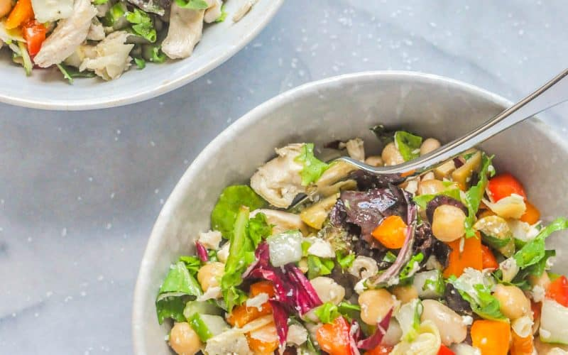 mediterranean chicken salad in serving bowls