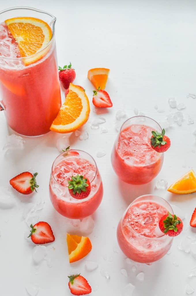 watermelon strawberry sangria in glasses