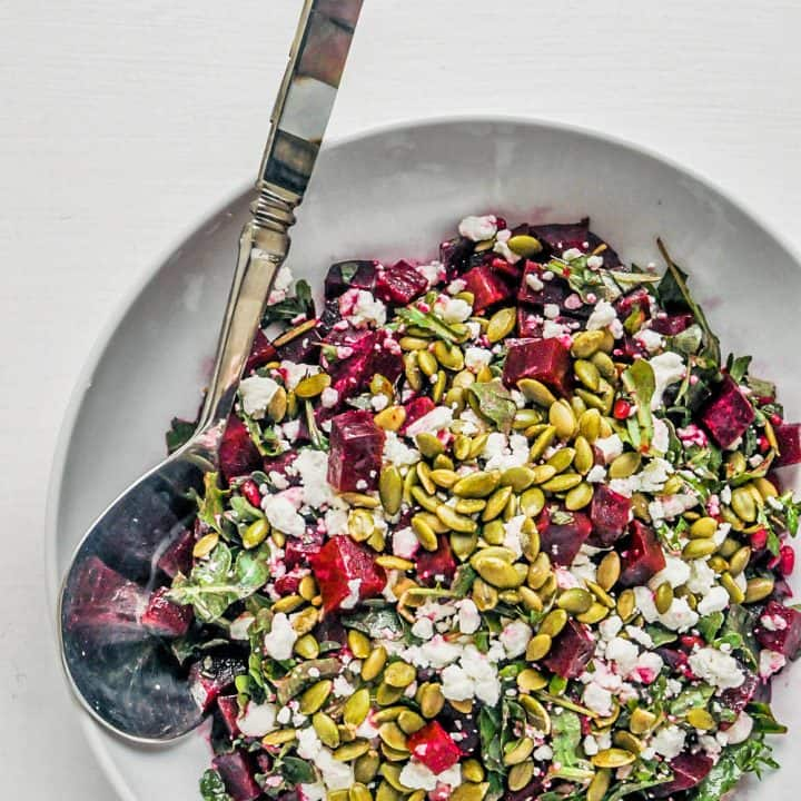 roasted beets salad in a bowl