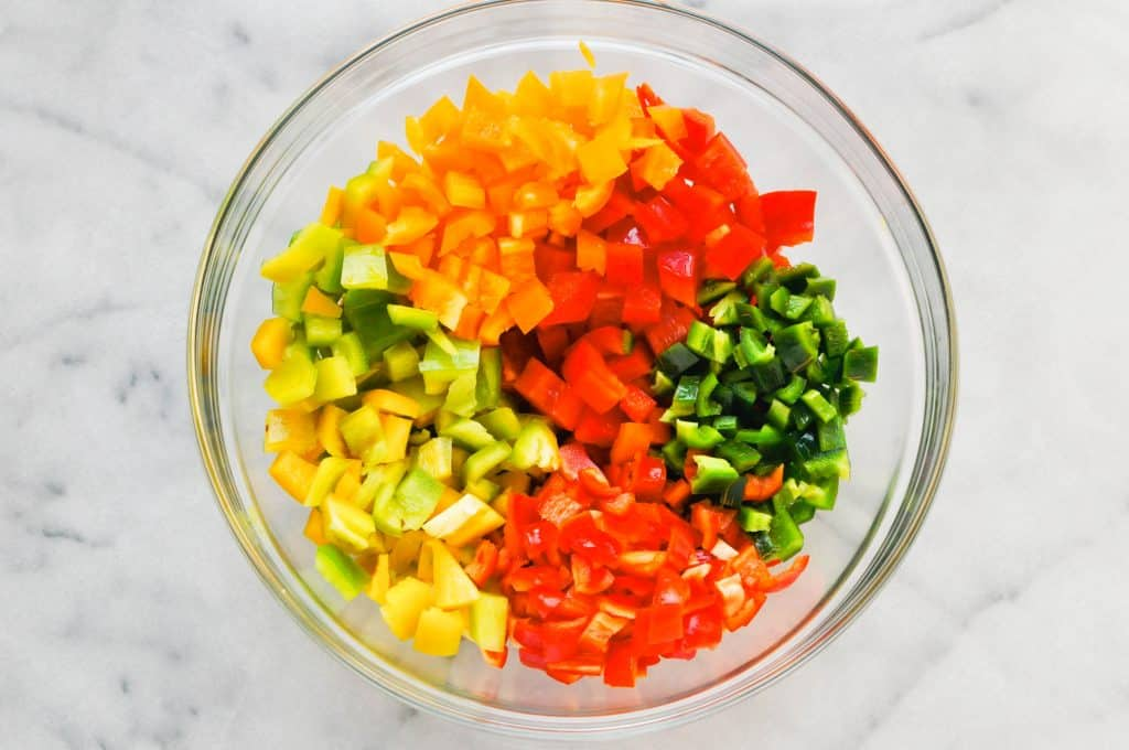cut up bell peppers