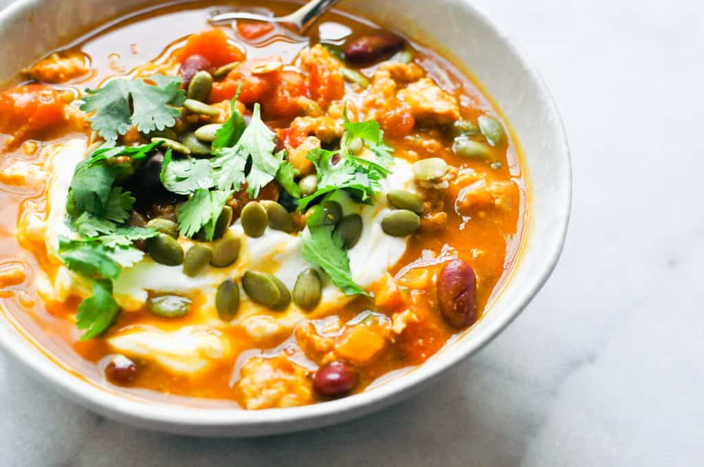 closeup turkey pumpkin chili