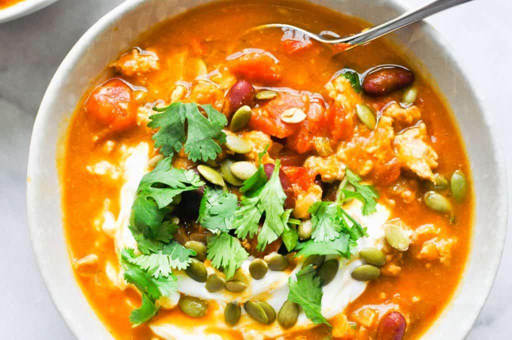 closeup of a bowl of turkey pumpkin chili
