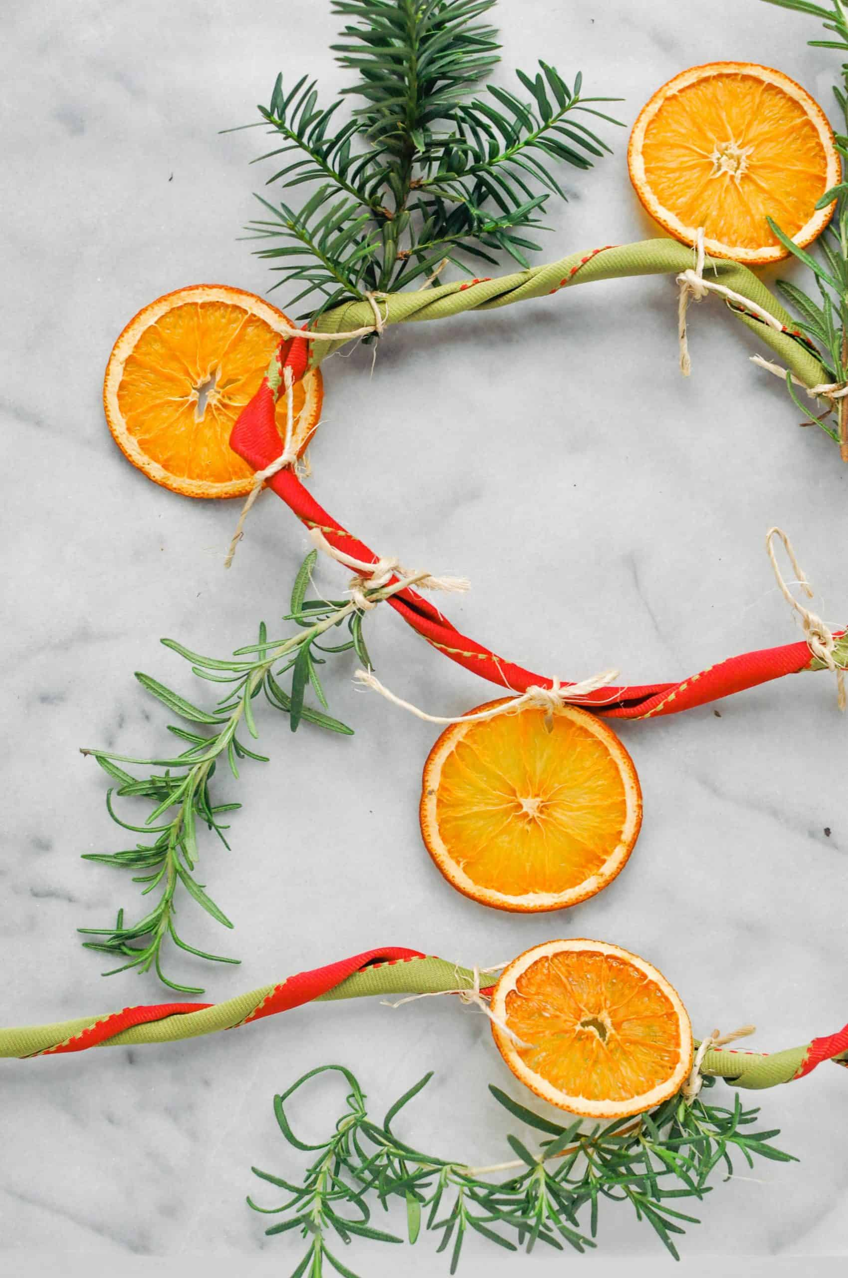 citrus, rosemary, evergreen garland