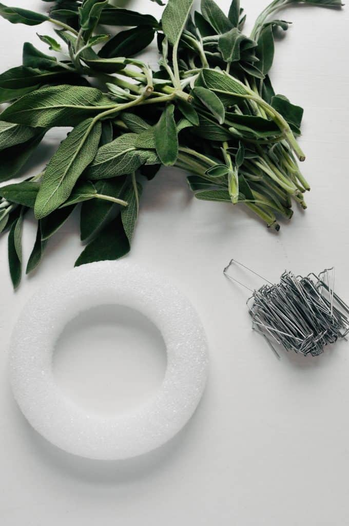 sage wreath items - foam wreath, sage, wreath pins