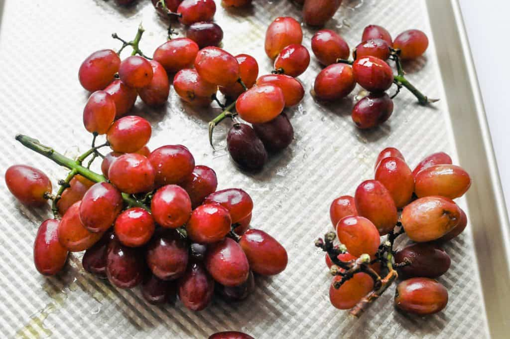 grapes on a baking sheet