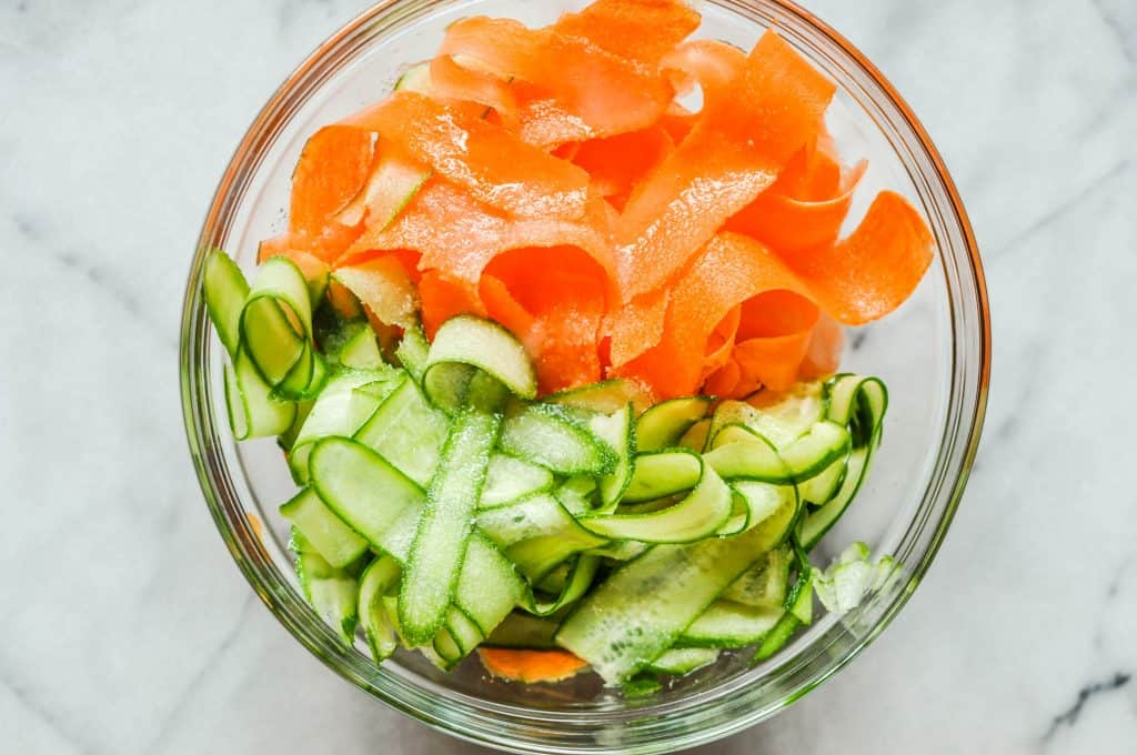 slivered carrots and cucumbers