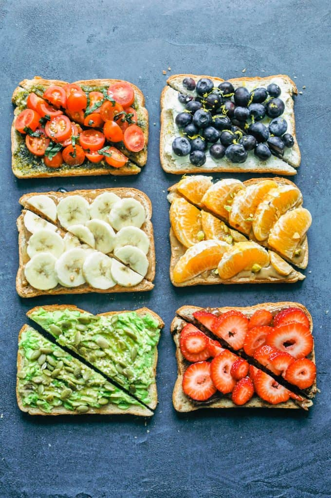 6 different types of toast on a dark background