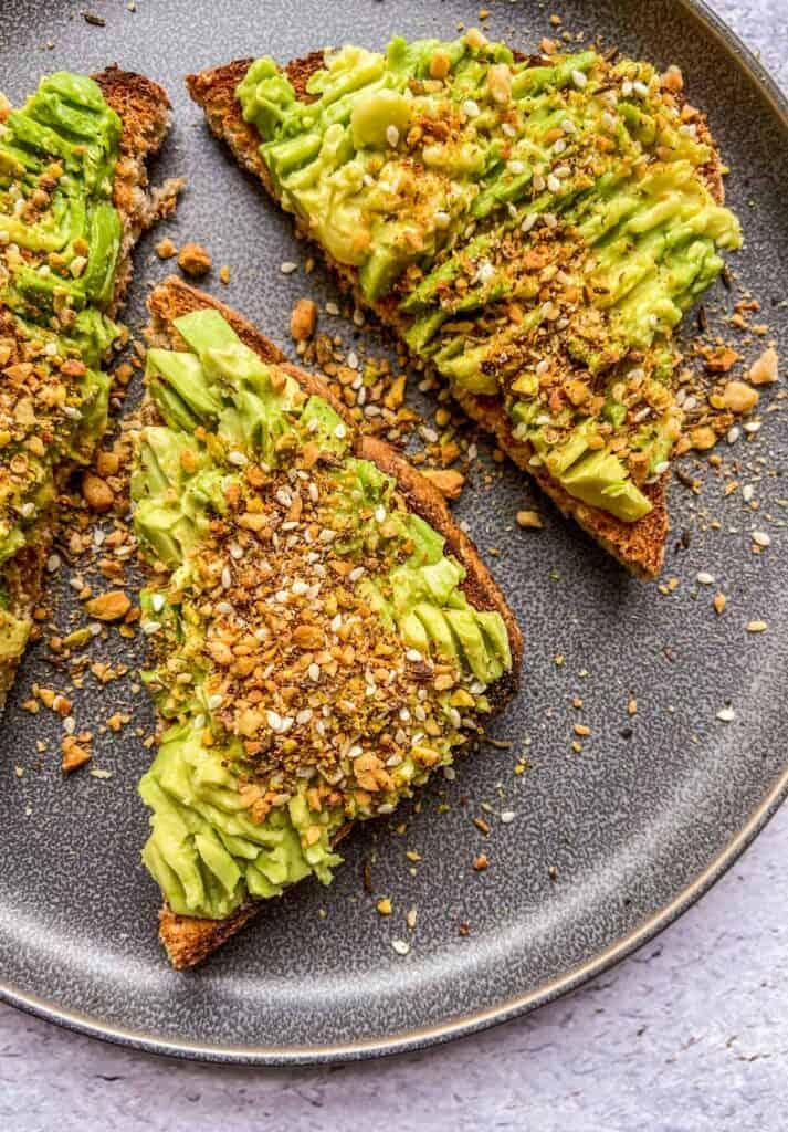 dukkah spice blend on avocado toast