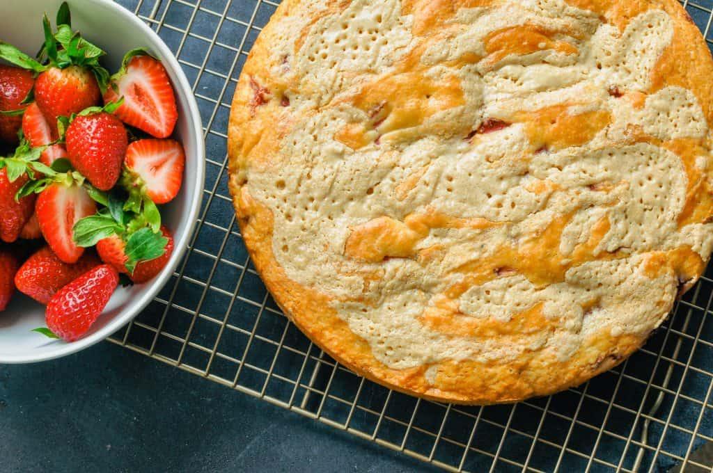 strawberry tahini shortcake on a cooling rack