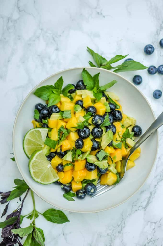 mango blueberry salad in a bowl