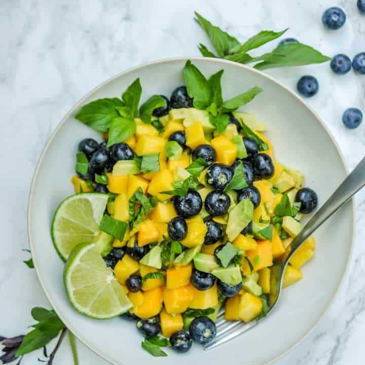 Mango Avocado Salad with Blueberries
