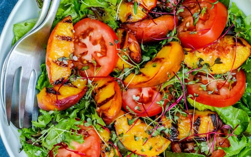grilled peaches, tomatoes, lettuce