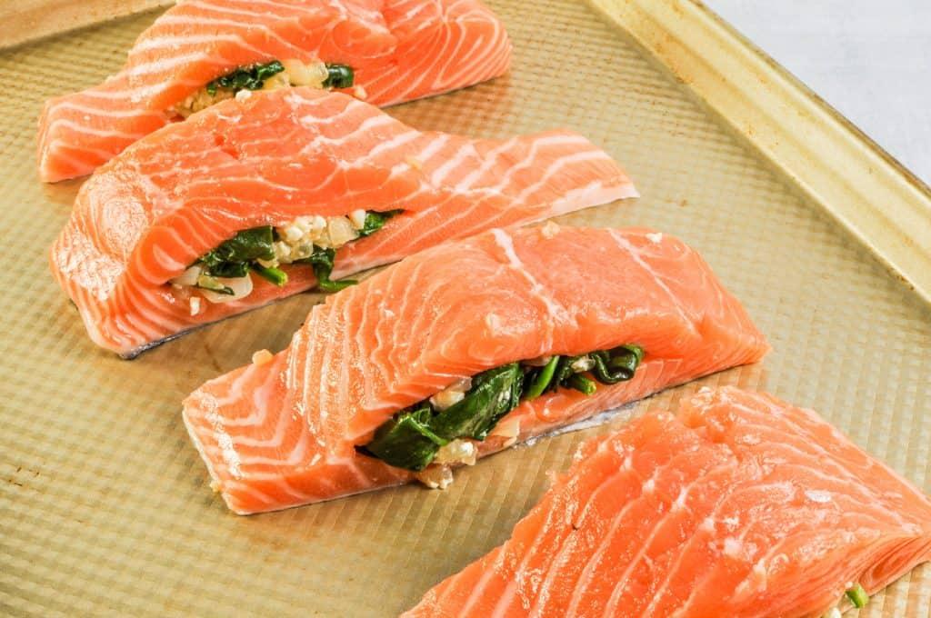 salmon being stuffed