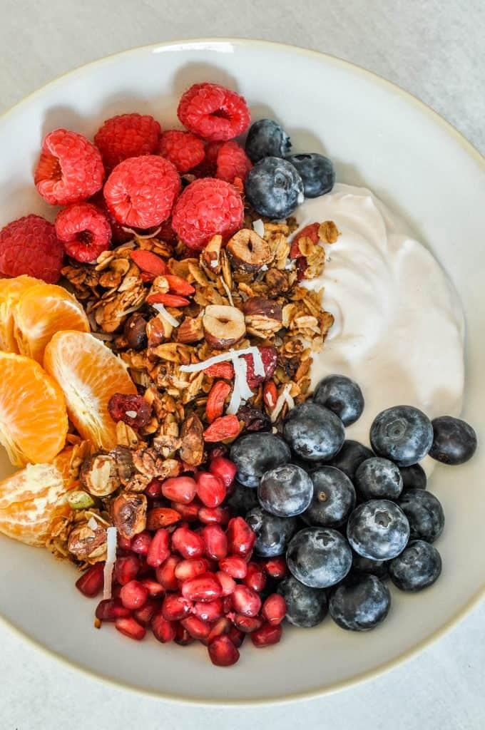 closeup of granola, yogurt, and fruit