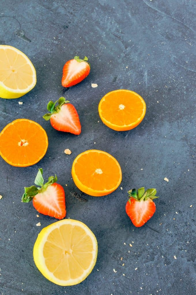 oranges, lemon, and strawberries
