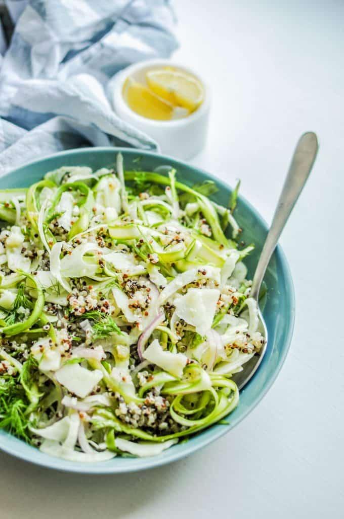 shaved asparagus fennel salad