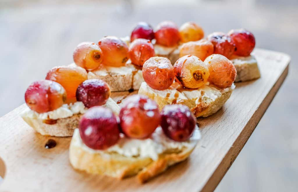 roasted grapes on crostinis