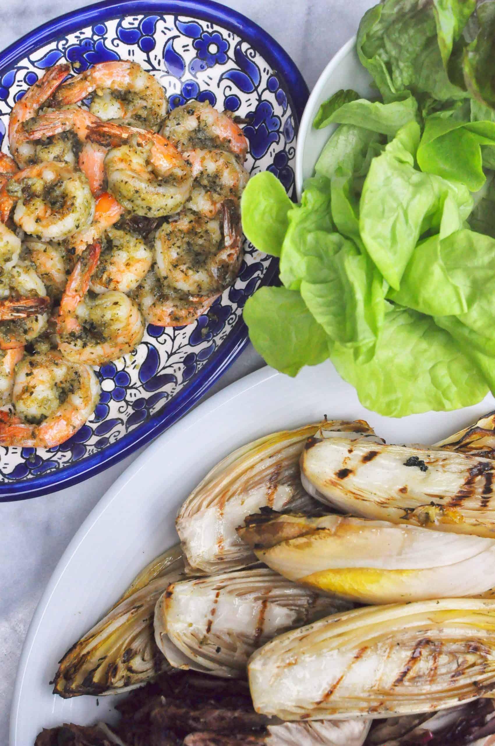 grilled shrimp, endvies, salad